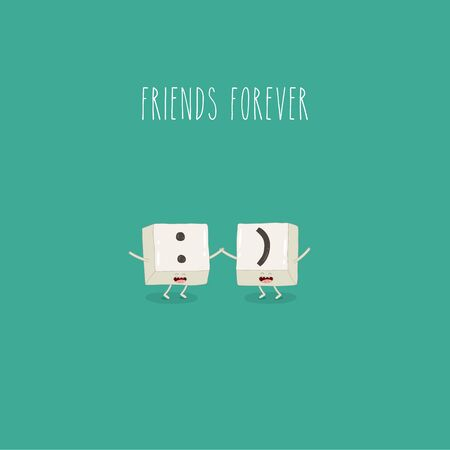 Keyboard keys are friends forever. Vector graphics. Çizim