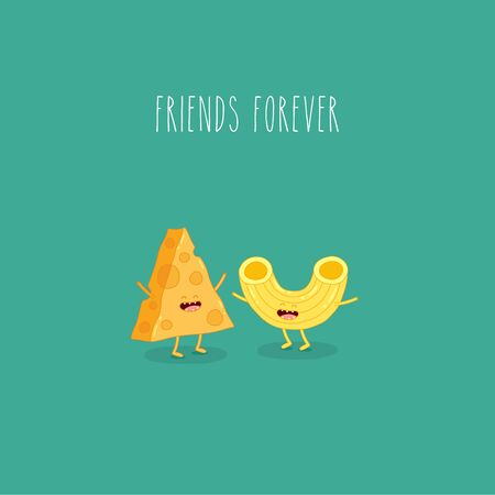 Pasta and cheese are friends forever. Vector graphics.