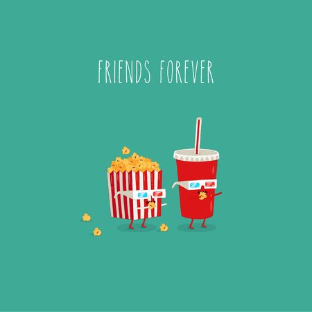 Popcorn and Cola watch the movie in 3D. Vector graphics.