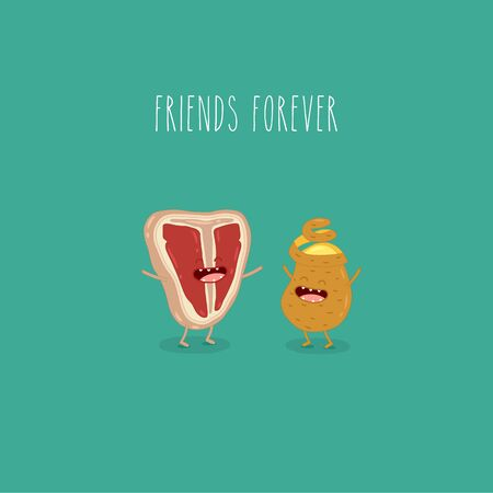 meat potato friends forever. Vector graphics. Funny image. Ilustração