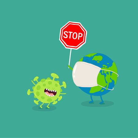 Earth holds coronavirus stop sign. Vector graphics. Çizim