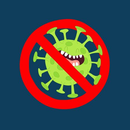 No corona virus sign. Vector graphics. Use for stickers. Çizim