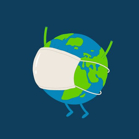 Planet earth wearing a medical mask. Vector graphics.
