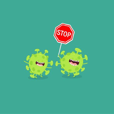 Corona viruses with stop sign. Vector graphics. Çizim