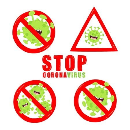 Stop corona viruses sign. Vector graphics. Use for stickers.