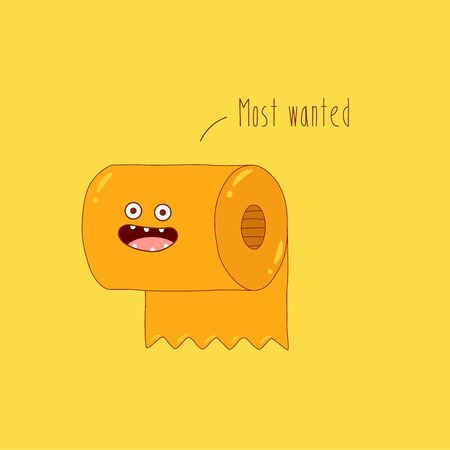 toilet paper roll most wanted. vector graphics Çizim