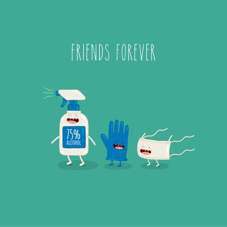 antiseptic glove medical mask friends forever. Vector graphics. Çizim