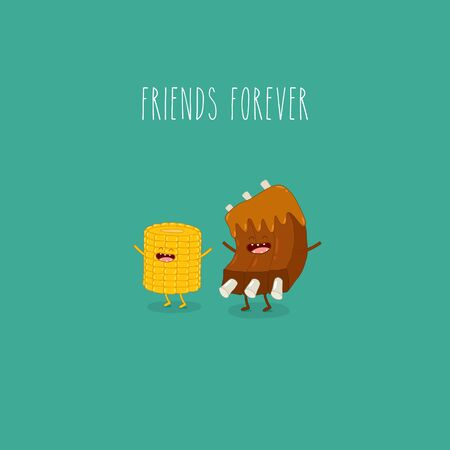 barbecue ribs and corn friends forever. Vector illustration.