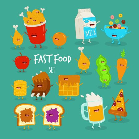 cartoon food set, breakfast, cornflakes, beer and pizza, vegetables, friends forever. Vector illustration. Çizim