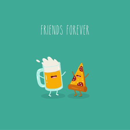 Beer with pizza friends forever. Vector illustration. Use for the menu, in the shop, in the bar, the card or stickers. Easy to edit Çizim