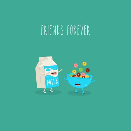 Bowl cereal and carton milk friends forever. Vector graphics.