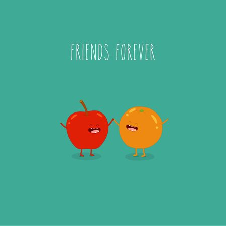 Apple and orange friends forever. Vector illustration. Use for the menu, in the shop, in the bar, the card or stickers. Easy to edit.