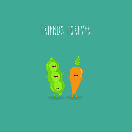 Vegetables, green pea and carrot friends forever. Vector illustration. Use for the menu, in the shop, in the bar, the card or stickers. Easy to edit. Çizim