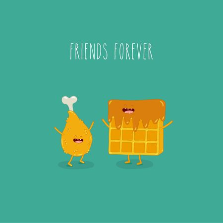 Waffles with chicken leg friends forever. Vector illustration. Use for the menu, in the shop, in the bar, the card or stickers. Easy to edit