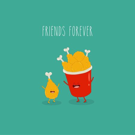 Chicken leg and a bucket of chicken legs friends forever. Vector illustration