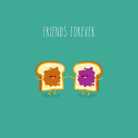 Toasted bread with peanut butter and jam friends forever. Vector illustration. Use for the menu, in the shop, in the bar, the card or stickers. Easy to edit