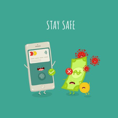 Paypass money stay safe from coronavirus. Vector illustration.