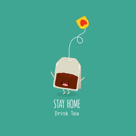 tea bag begs stay home drink tea. Vector illustration. Çizim