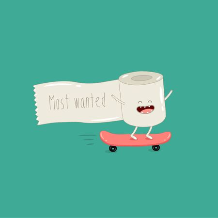 toilet paper rides skateboard. Most wanted. Vector illustration.