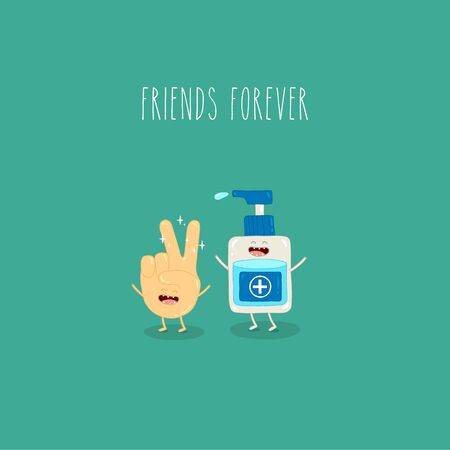 hand and antiseptic friends forever. Vector illustration.