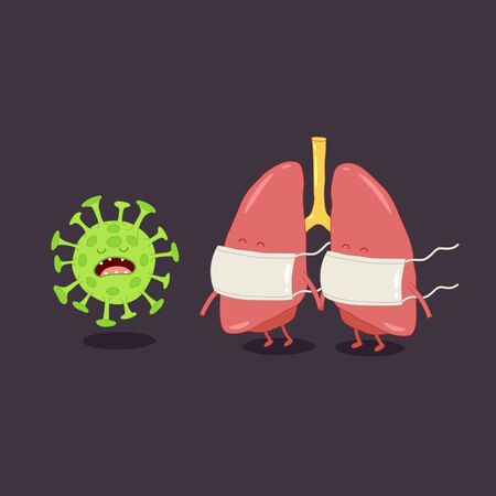 Lungs protected from coronavirus by masks. Vector illustration.