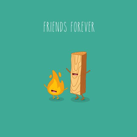 firewood and fire friends forever. Vector illustration.