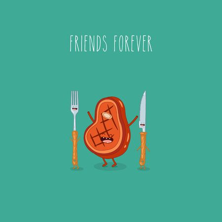 steak knife fork friends forever. Vector illustration.