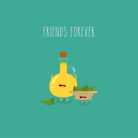 olive oil bottle plate olives friends forever. Vector illustration. Çizim