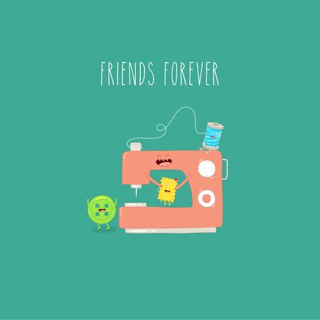 sewing machine button friends forever. Vector illustration.