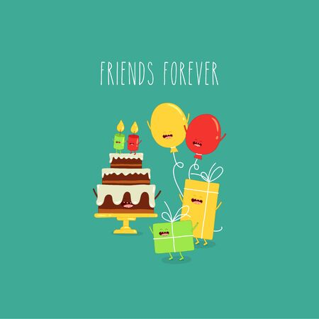 birthday cake balloons friends forever. Vector illustration.