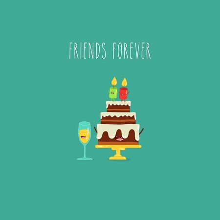 birthday cake glass of wine friends forever. Vector illustration. Çizim