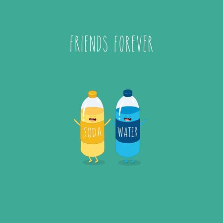 soda water and water bottles friends forever. Vector illustration.