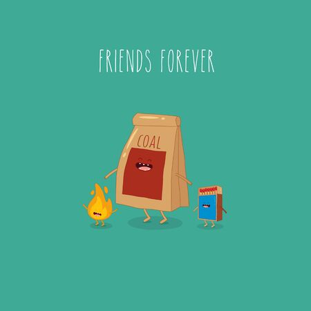 charcoal and matches friends forever. Vector illustration.