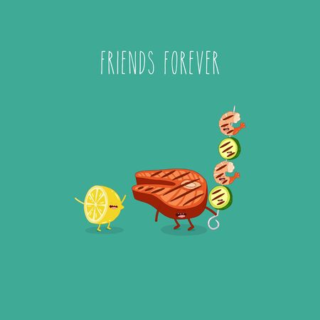 lemon grill salmon shrimp friends forever. Vector illustration. Çizim