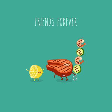 lemon grill salmon shrimp friends forever. Vector illustration. Illustration