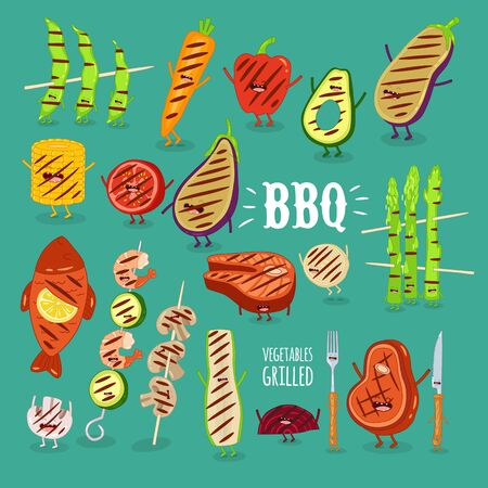 barbecue vegetbles fish funny set. Vector illustration. Çizim