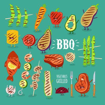 barbecue vegetbles fish funny set. Vector illustration. Illustration