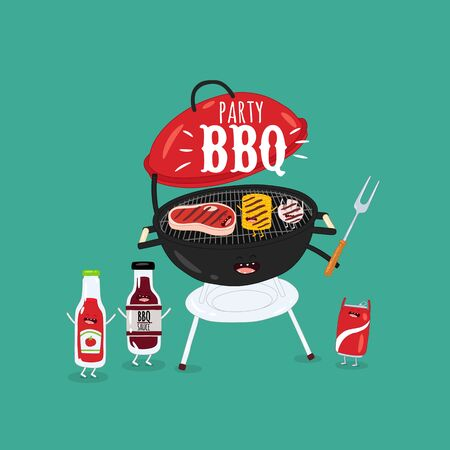 barbecue grill sauces funny image. Vector illustration.