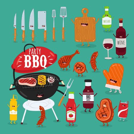Grill grilled meat wine sauces. Vector illustration.