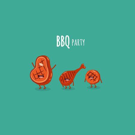 steak chicken leg BBQ party. Vector illustration.