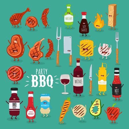 barbecue sauces wine meat set. Vector illustration.