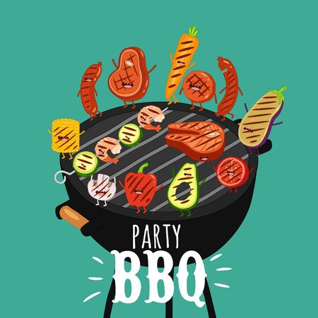 barbecue roaster food funny party. Vector illustration. Çizim
