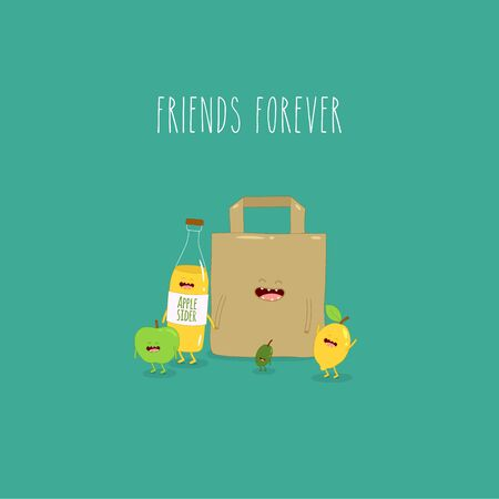 apple sider olives lemon paper bag friends forever. Vector illustration. Çizim