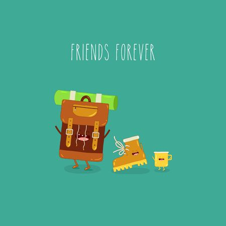 backpack boot yellow cup friends forever. Vector illustration.