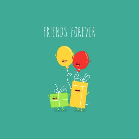 ballons gift boxes friends forever. Vector illustration.