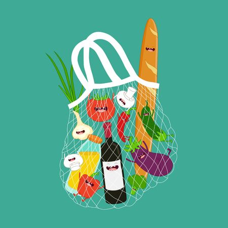 mesh bag with funny groceries. Vector illustration Çizim
