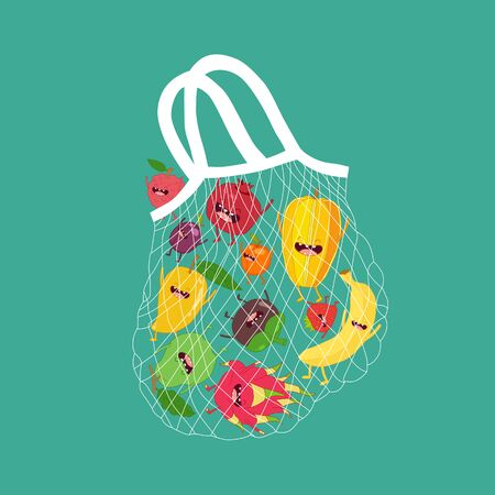 mesh bag with funny fruits. Vector illustration