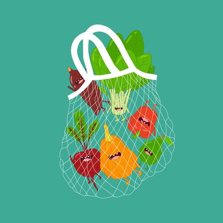mesh bag with funny vegetables. Vector illustration Çizim