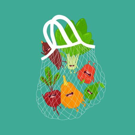 mesh bag with funny vegetables. Vector illustration Illustration