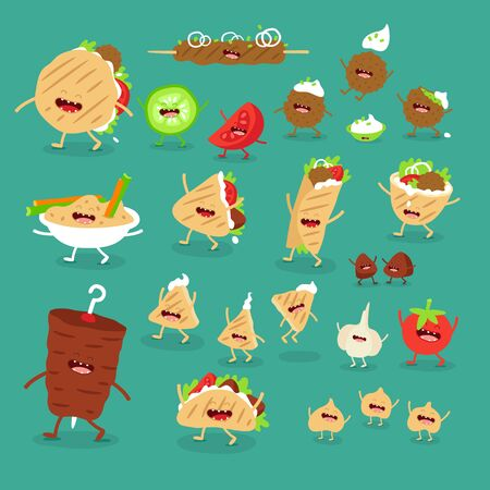 donner pita hummus kebab fast food set. Vector illustration.